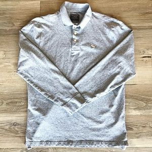 Abercrombie, Long Sleeve Polo, Large, Gray